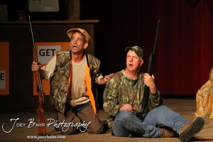 "Duane played by K.B. Bell and Duwell played by Charlie Dixon perform during the Great Bend Community Theater's final rehearsal of  ""Duck Hunter Shoots Angel"" by Mitch Albom at Crest Theater in Great Bend, Kansas on April 17, 2013.  (Photo: Joey Bahr, www.joeybahr.com)"