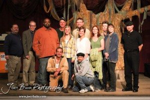 "The Cast and Crew assemble for a picture following the Great Bend Community Theater's final rehearsal of  ""Duck Hunter Shoots Angel"" by Mitch Albom at Crest Theater in Great Bend, Kansas on April 17, 2013.  (Photo: Joey Bahr, www.joeybahr.com)"