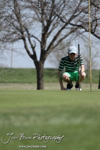 Salina South Cougar Tim Kroeker reads the green during the Great Bend High School Boys Golf Invitational Tournament at The Club at Stoneridge in Great Bend, Kansas on April 29, 2013.  (Photo: Joey Bahr, www.joeybahr.com)