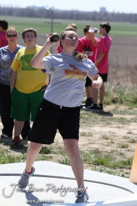 Competitors take part in the 7th Grade Girls Shot Put  at the Oiler Relays at Barton Community College in Great Bend, Kansas on April 4, 2013.  (Photo: Joey Bahr, www.joeybahr.com)
