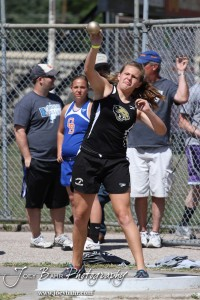 A thrower from LaCrosse competes in the shot put during the 2013 KSHSAA Class 1A Regional Track and Field competition at Lewis Field on the campus of Fort Hays State University in Hays, Kansas on May 17, 2013.  (Photo: Joey Bahr, www.joeybahr.com)