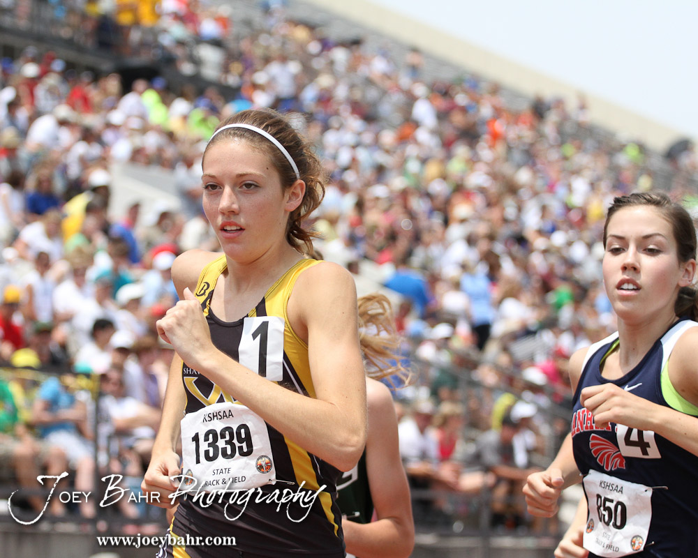 Alli Cash of Shawnee Mission West leads the field in the Class 6A Girls 1600 Meter Run during the 2012 KSHSAA State Track and Field Championship  at Cessna Stadium on the campus of Wichita State University in Wichita, Kansas on May 26, 2012.  (Photo: Joey Bahr, www.joeybahr.com)