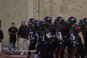 The Great Bend Panther prepare to take the field prior to  the Salina Central versus Great Bend High School Football game with Salina Central winning 41 to 14  at Memorial Field in Great Bend, Kansas on October 25, 2013.  (Photo: Joey Bahr, www.joeybahr.com)