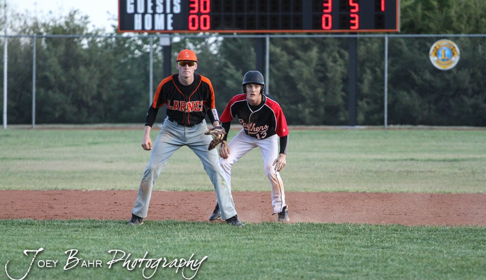 during the Great Bend Panthers versus Larned Indians Baseball game with Great Bend winning 8 to 4 at Moffet Stadium in Larned, Kansas on May 15, 2014.  (Photo: Joey Bahr, www.joeybahr.com)