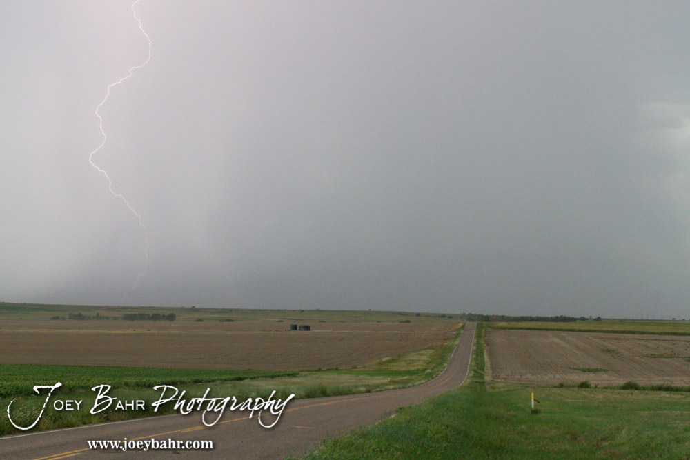 A lighting bolt strikes in rural Western Barton County near Albert, Kansas on August 22, 2014.  (Photo: Joey Bahr, www.joeybahr.com)