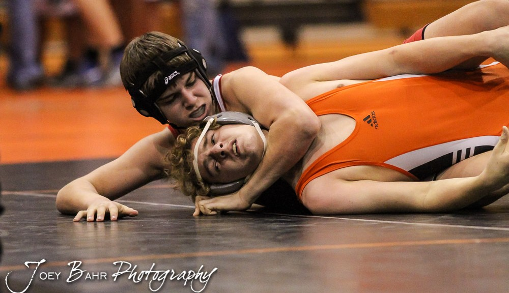 during the Larned Varsity Duals Wrestling meet at Larned Middle School in Larned, Kansas on January 8, 2015.  (Photo: Joey Bahr, www.joeybahr.com)