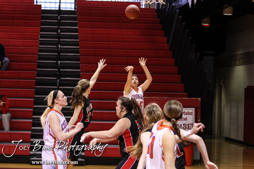 during the 2016 Hoisington Winter Jam Girls Fifth Place Basketball game between the Otis-Bison Lady Cougars and the Ellsworth Lady Bearcats with Otis-Bison winning 46 to 40