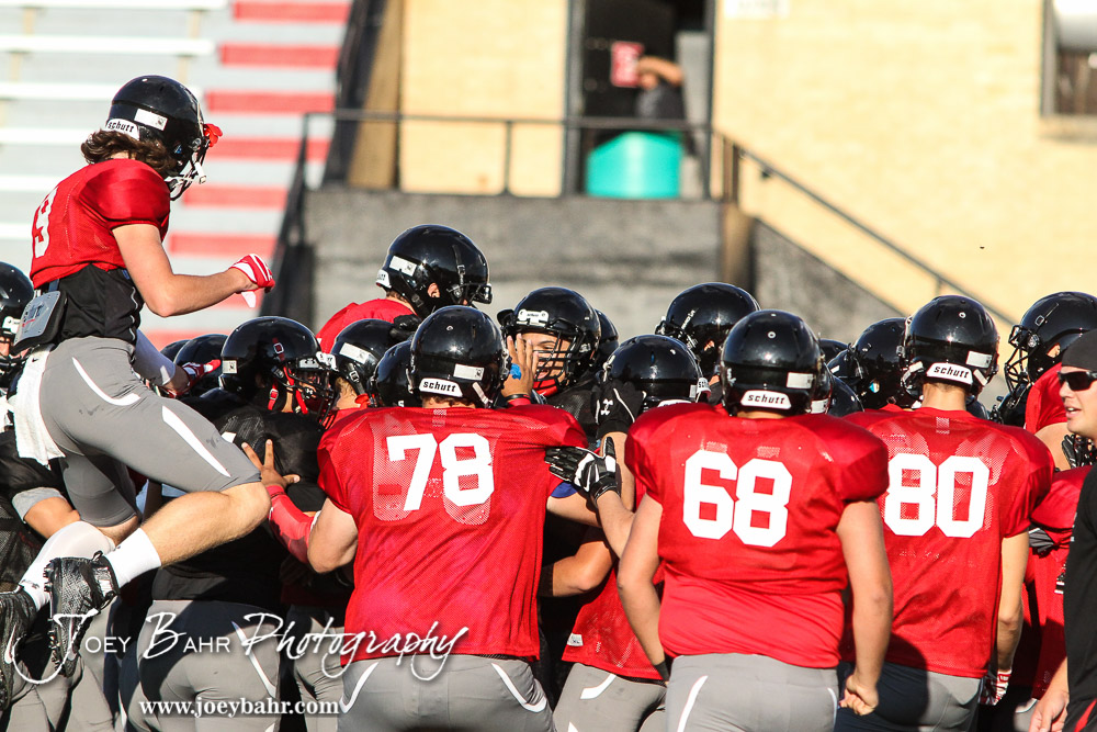 The Great Bend Panthers compete in a full pad scrimmage before the first game of the season at Memorial Stadium in Great Bend, Kansas on August 26, 2016. (Photo: Joey Bahr, www.joeybahr.com)