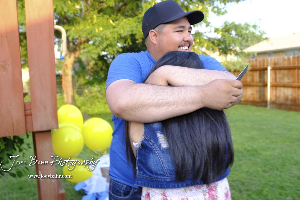 Jaime hugs Bertha tightly after finding out they are having a daughter.