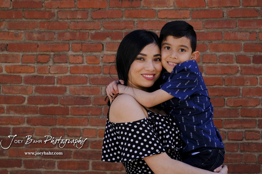 Mother and Son Portrait, Brick Wall, Great Bend, Family Portrait